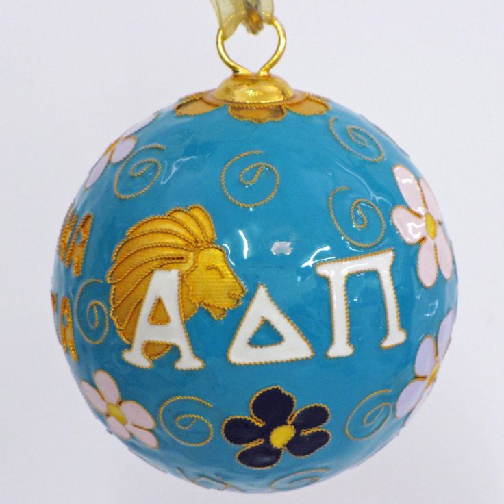 Officially licensed Alpha Delta Pi, handcrafted, 24k gold plated cloisonne ornament - www.KittyKeller.com