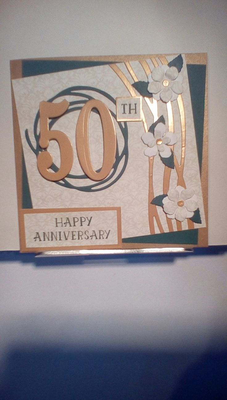 Golden wedding anniversary card in gold and