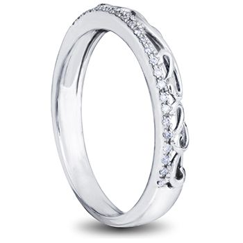 9ct white gold ladies wedding ring with diamonds and filigree