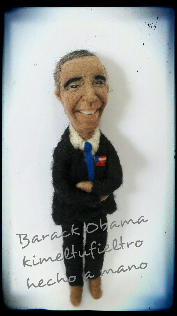 Barack Obama  Hecho a mano Fieltro acuñado Kimeltufieltro hecho a mano chile