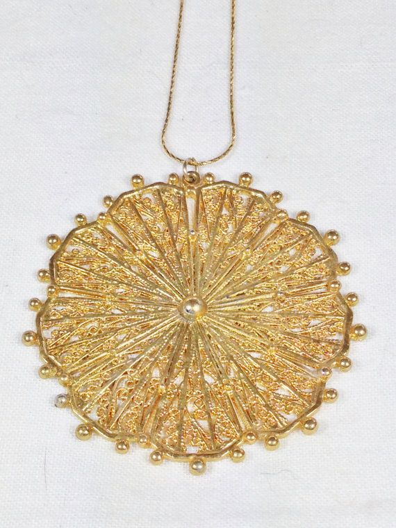 Upcycled Tribal Sun Necklace In Vintage Yellow Gold Filigree