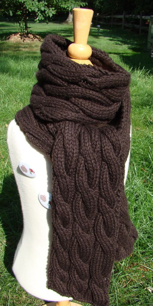 Rambling - cable knit scarf... just put the cables whenever and wherever you feel like for a rambling improv cabled scarf.  Great idea!