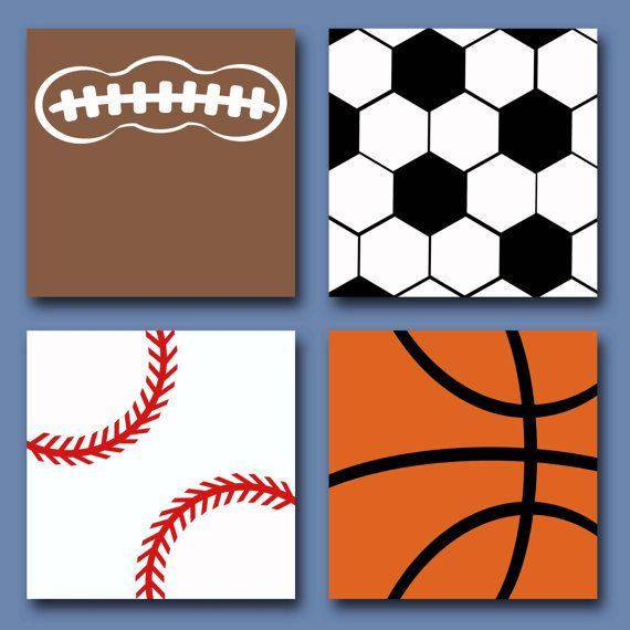Sports Themed Canvas Paintings (Set of 4) by rjkart4u on Etsy