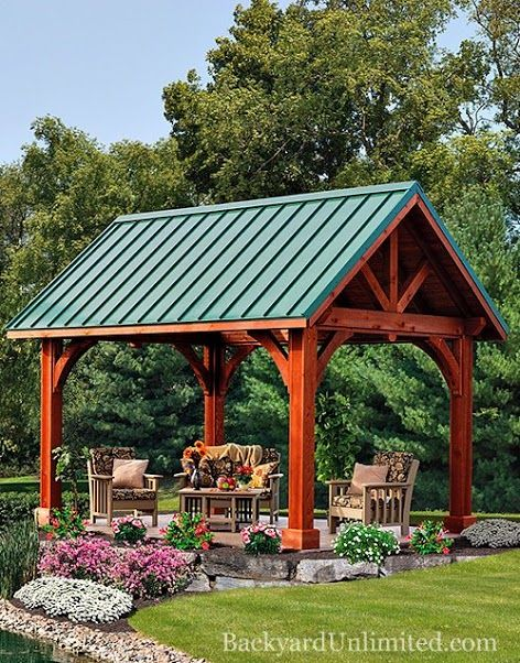 10'x14' Alpine Cedar Pavilion with Canyon Brown Stain and Standing-Seam Metal Roof: Amish-built and available in California from http://www.backyardunlimited.com/pavilions