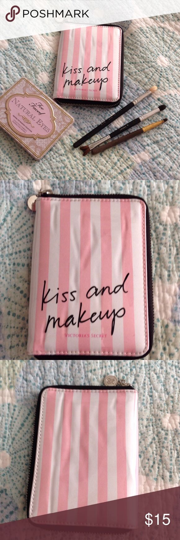 """Victoria's Secret Kiss & Makeup Brush Case Never used but some wrinkling under plastic.  Measures just over 6"""" so only small brushes will fit (see photos to get idea).  Brushes not included Victoria's Secret Bags Cosmetic Bags & Cases"""