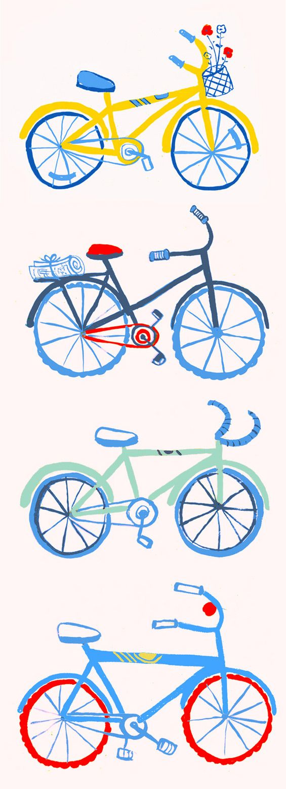 Danielle Kroll - LA BICICLETTA  An illustration showing bikes of all shapes and sizes.