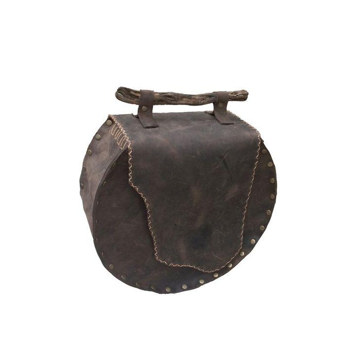 Δερμάτινη χειροποίητη τσάντα πλάτης / καφέ σκούρο