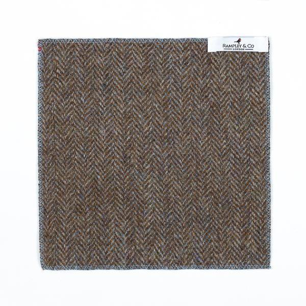 Blue Hemmed Herringbone Tweed Pocket Square.