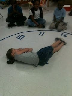 telling time. Did this today and it was amazing!!! Used sidewalk chalk outside and then gave blank circles for kids to make their own clock and played guess the time where students had to write the time their classmates were positioned in.