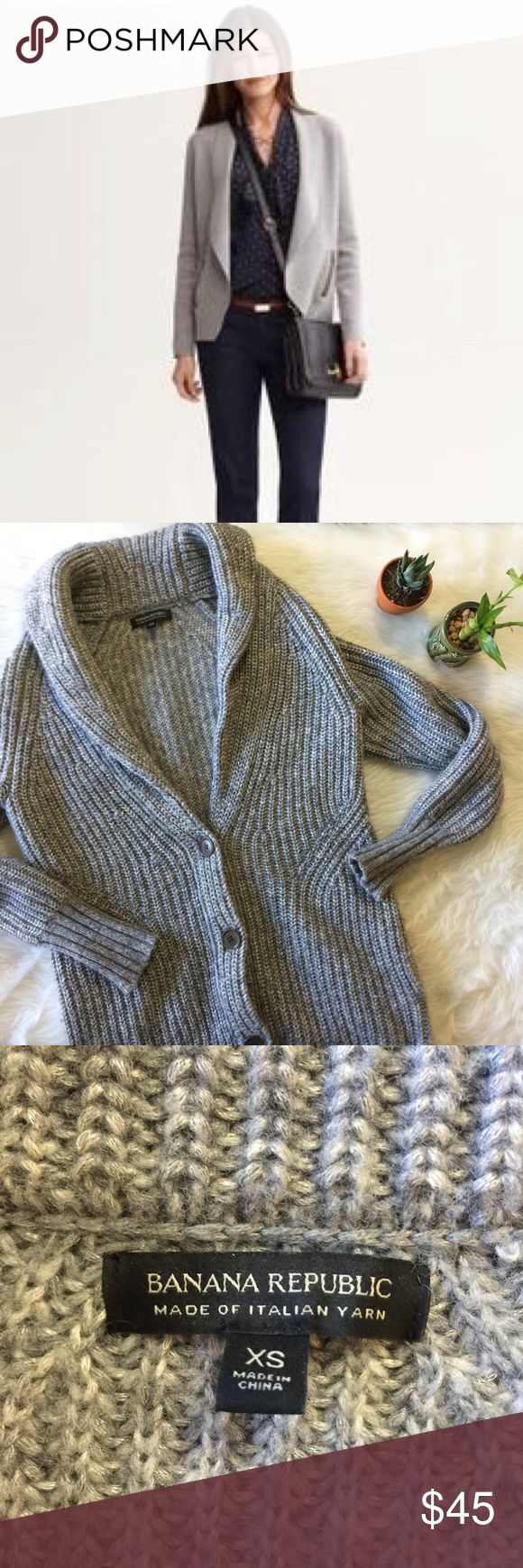 Banana Republic Silver Cardigan This cardigan is in excellent condition! Only worn once. Great for winter! No flaws like stains or holes. Smoke and pet free home. No trades. Offers are welcome! Banana Republic Sweaters Cardigans