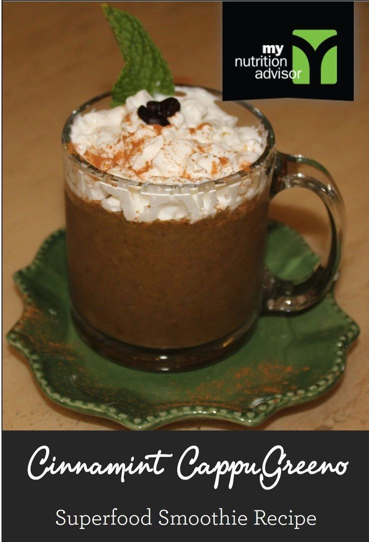 Cinnamint CappuGreeno - Superfood Smoothie Recipe with Coffee Beans! If you like cinnamon in your coffee - try this recipe.  An ultra healthy way to make a superfood smoothie with coffee!  Contains over 10 different superfoods in the Ancient Delight Superfood Mix we are using. Click on the image for the recipe. #mnasmoothie
