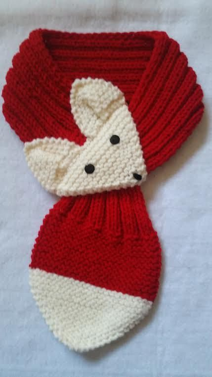 Adjustable Hand Knit Fox Scarf Red neck warmer by QuiltNCrochet