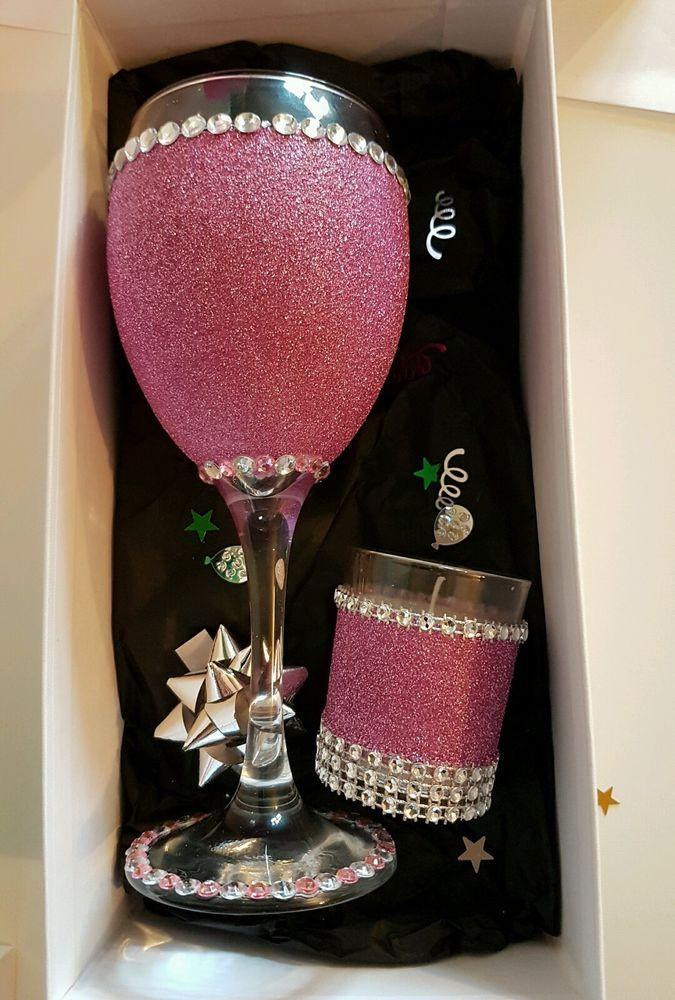 Glitter Wine Glass personalised Birthday Gift set18/21/30/40/50/mum/aunt/friend/