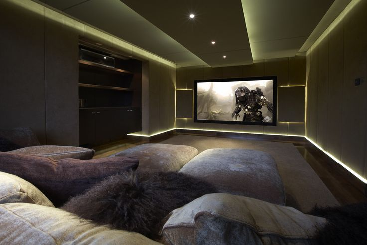 Lighting and comfort seating complements the atmosphere on screen. #homecinema #hometheatre