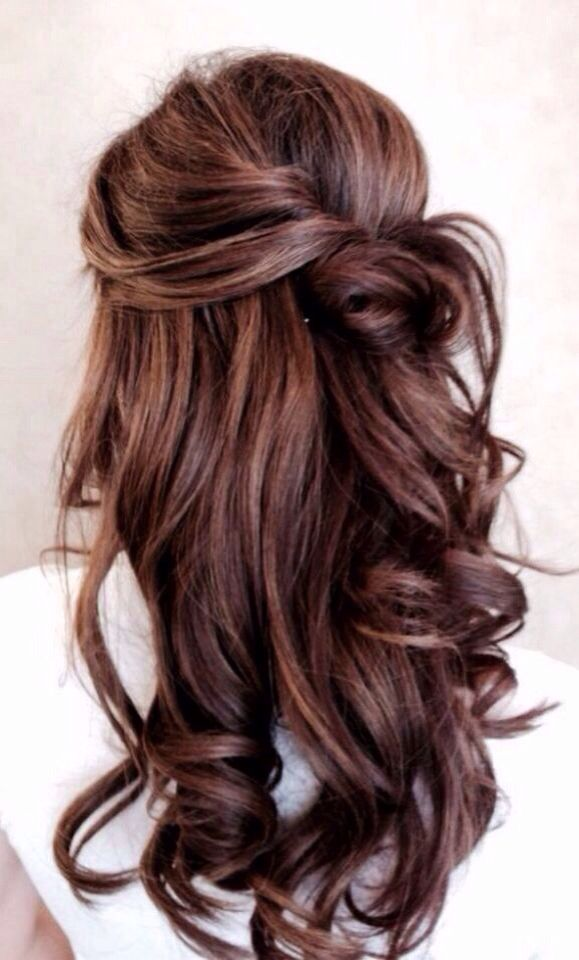 Love this curly half up half down do