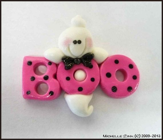 Polymer Clay Bead or Bow Center Pink BOO by michellesclaybeads