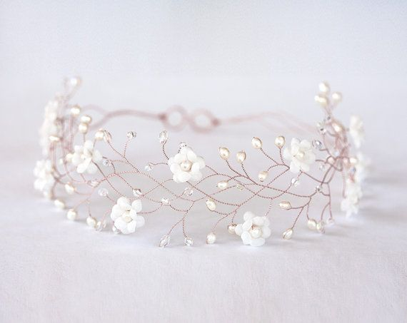 Rose gold hair accessories, Flower rose gold hair crown, Flower crown, Wedding hair accessories, Wedding crown, Bridal hair accessory, Pink gold crown,