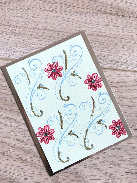 All Occasion Card // Blue and Red // Glitter