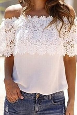 White Off the Shoulder Floral Crochet Lace Blouse