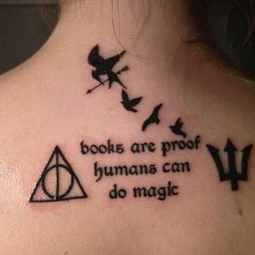 "Cool tattoo with the different books ""books are proof humans can do magic"""