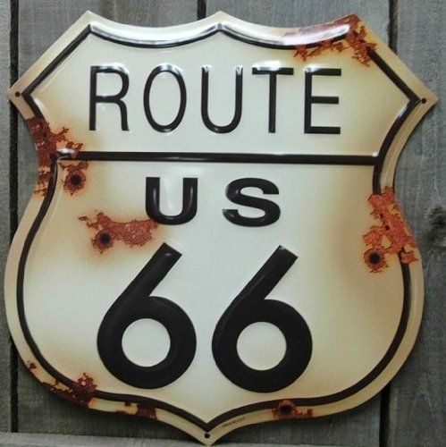 Route 66 Distressed Look Tin Sign http://bikeraa.com/route-66-distressed-look-tin-sign/