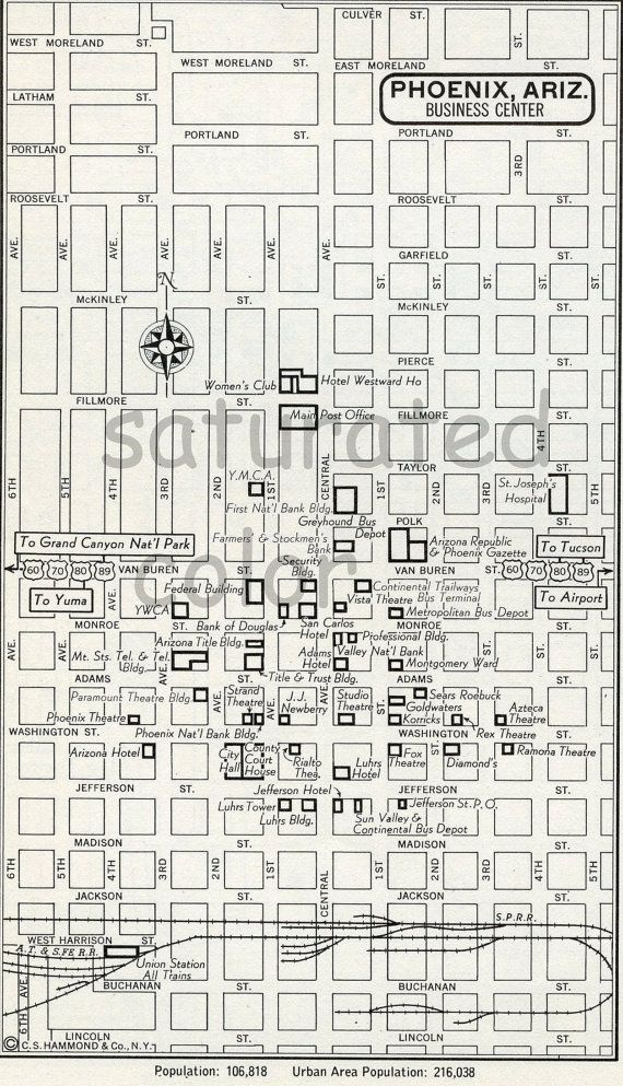 Phoenix, Arizona AZ Map - Vintage 1950s Original Heart of Phoenix, AZ - Wonderful Old  Landmarks & Details. $6.00, via Etsy.