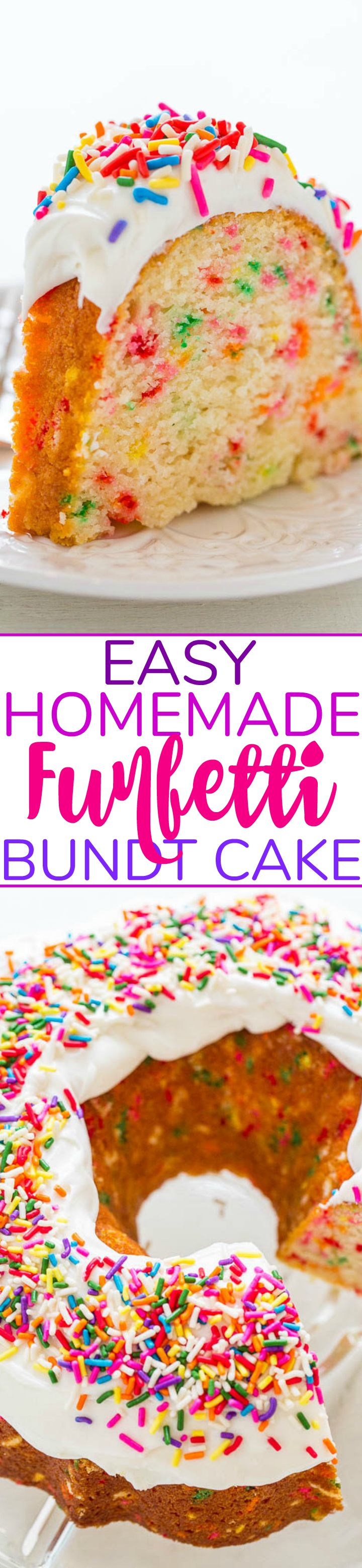 Easy Homemade Funfetti Bundt Cake - NO cake mix in this 100% HOMEMADE funfetti cake that's loaded with sprinkles and tastes amazing!! Fast, EASY, and the BEST scratch funfetti cake recipe!!