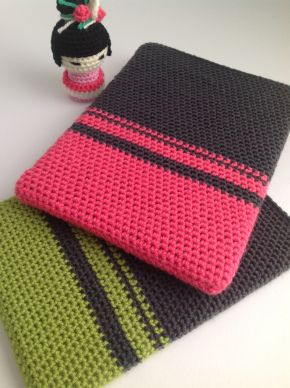 Color block Ipad sleeve free pattern. gehaakte ipad hoes gratis patroon