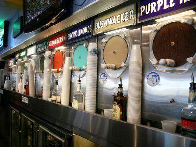 Wall of frozen daiquiri machines at Daiquiri Deck - St. Armands Circle, Venice and Siesta Key, Florida :)