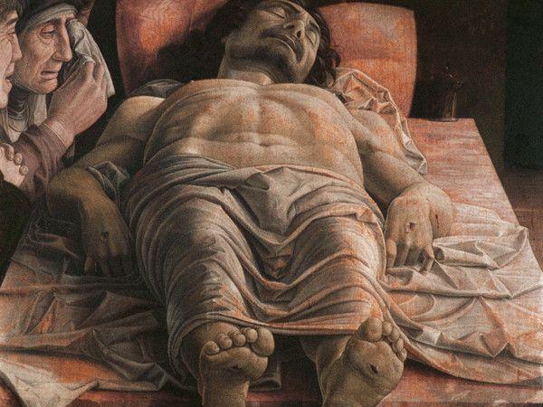 Andrea Mantegna, Cristo morto (1480 c.a.) tempera su tela, cm 66x81 - Milano, Pinacoteca di Brera . Per il giorno della commemorazione dei defunti- per i Sassi di Arte https://ilsassonellostagno.wordpress.com/2015/11/02/andrea-mantegna-cristo-morto/