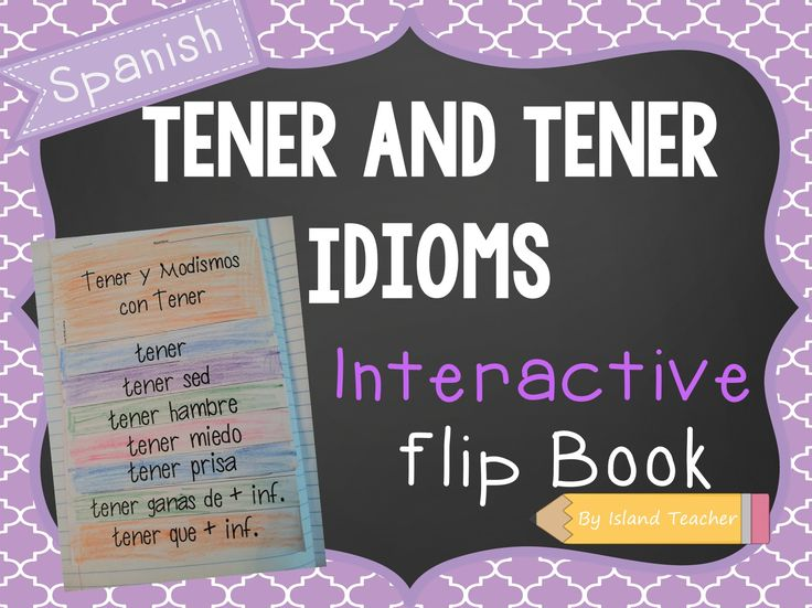 Tener and Tener Idioms Flip Book. Great for Spanish Interactive Notebooks.