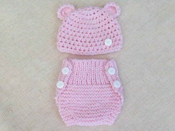 11c94ee588706 Ensemble bébé 0 1 mois bonnet et cache-couche tricot et crochet ...