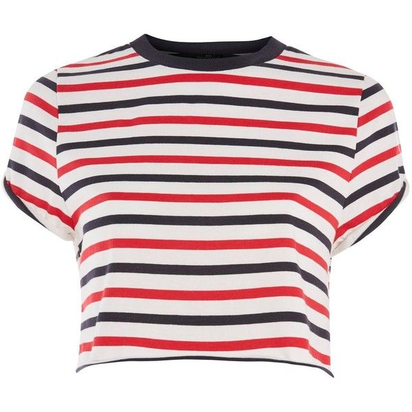 TopShop Petite Stripe Roll Back Sleeve T-Shirt (£20) ❤ liked on Polyvore featuring tops, t-shirts, red, stripe t shirt, striped t shirt, rolled sleeve tee, cotton t shirts and red tee