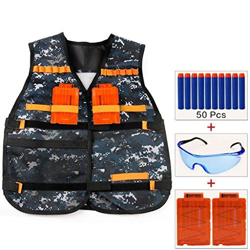 Cosoro Kids Camouflage Tactical Vest Jacket Kit (with 50pcs Blue Foam Darts + Protective Goggles Glasses + 2 Pcs 5-dart Quick Reload Clip) for Nerf Toy Gun N-strike Elite Series