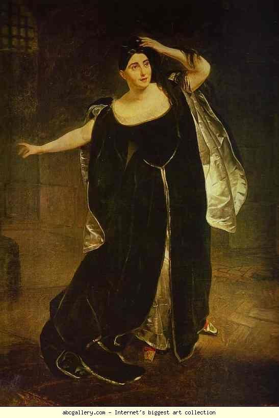 Karl Brulloff. Portrait of the Actress Juditta Pasta as Anne Boleyn.