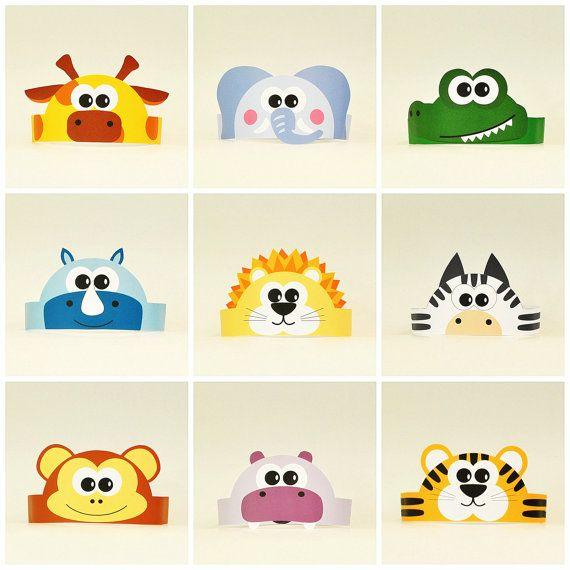 10 Jungle and Savanna Animals Paper Crowns Set. 10 DIY Crowns Template. Wild Animals Paper Hats Handmade Template kit. DIGITAL
