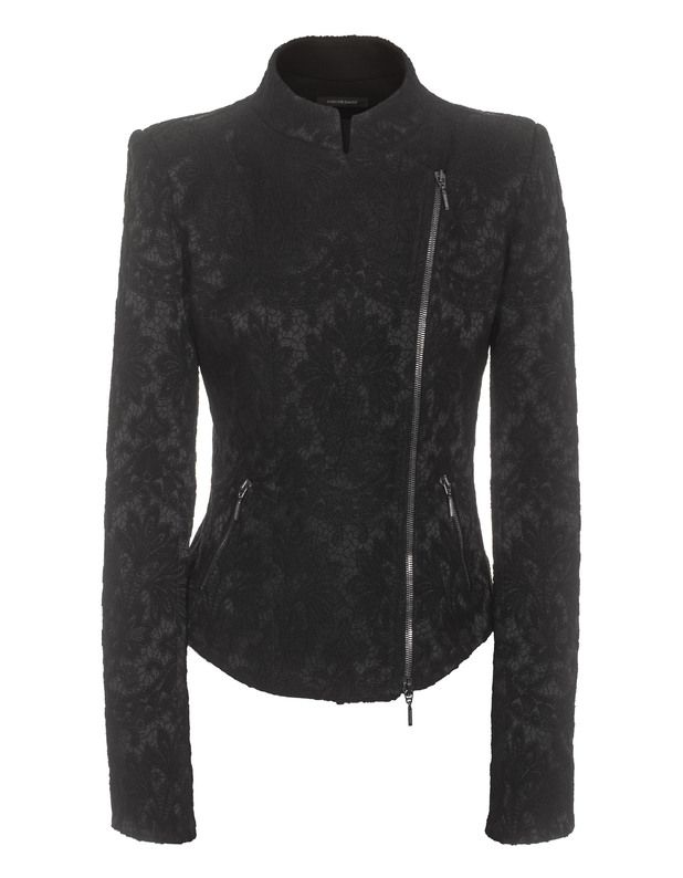 PLEIN SUD JEANIUS BROCADE BLACK ZIP BLAZER IN BROKAT-OPTIK