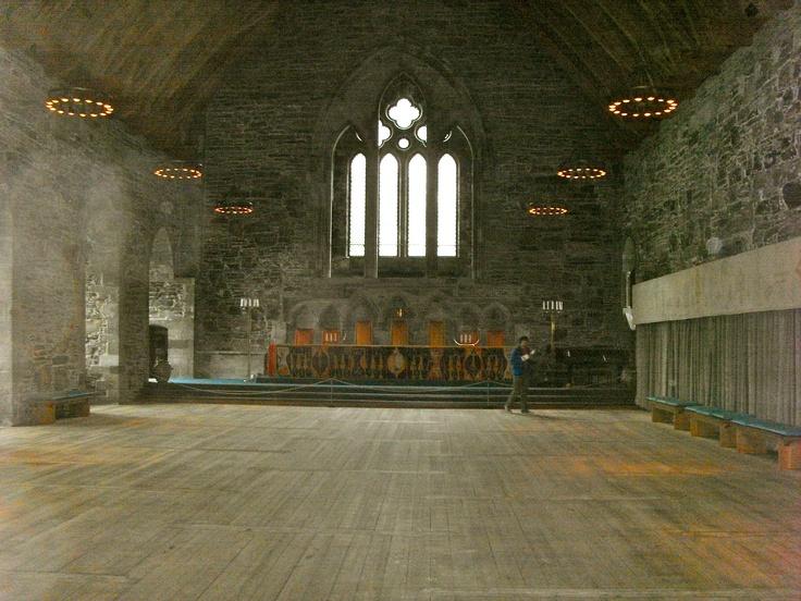 Rosenkrantz Castle main hall; once the seat of Norwegian kings, still a location for major social events.