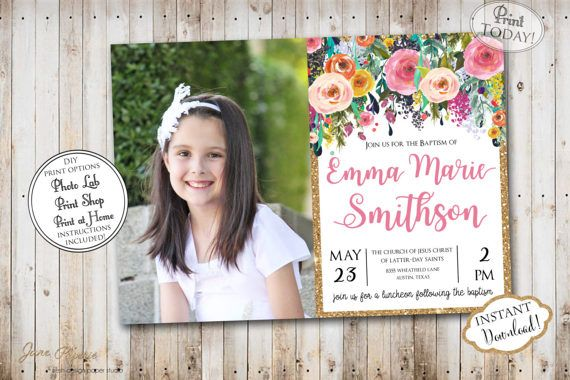 INSTANT DOWNLOAD - Editable LDS Baptism Invitation - Floral Glitter - Girl Baptism Invitation  - Printable baptism Announcement - Mormon. Find more coordinating printables at JanePaperie: https://www.etsy.com/shop/JanePaperie