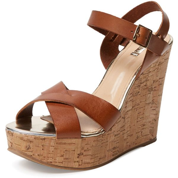 Schutz Gelly Wedge Sandal ($99) ❤ liked on Polyvore featuring shoes, sandals, wedges, brown, high heel wedge sandals, brown leather shoes, brown sandals, ankle wrap sandals and brown platform sandals