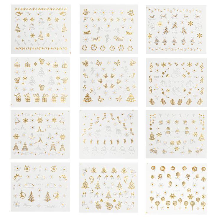 12 Wzory Christmas Nail Art Naklejki 3D Złoty i Srebrny Metalic Snowflake Christmas XMAS Drzewa Ozdoby Do Paznokci SKU: XB0527