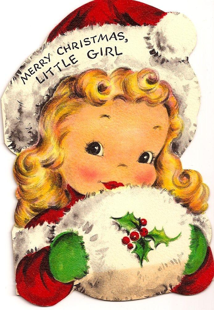 vintage Christmas card, Merry Christmas Little Girl