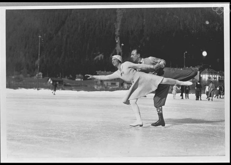 "(1924; Chamonix, France) ""Andrée Joly and Pierre Brunet won bronze in pairs figure skating in Chamonix before taking gold in 1928 and 1932. The French couple for married in 1929."""