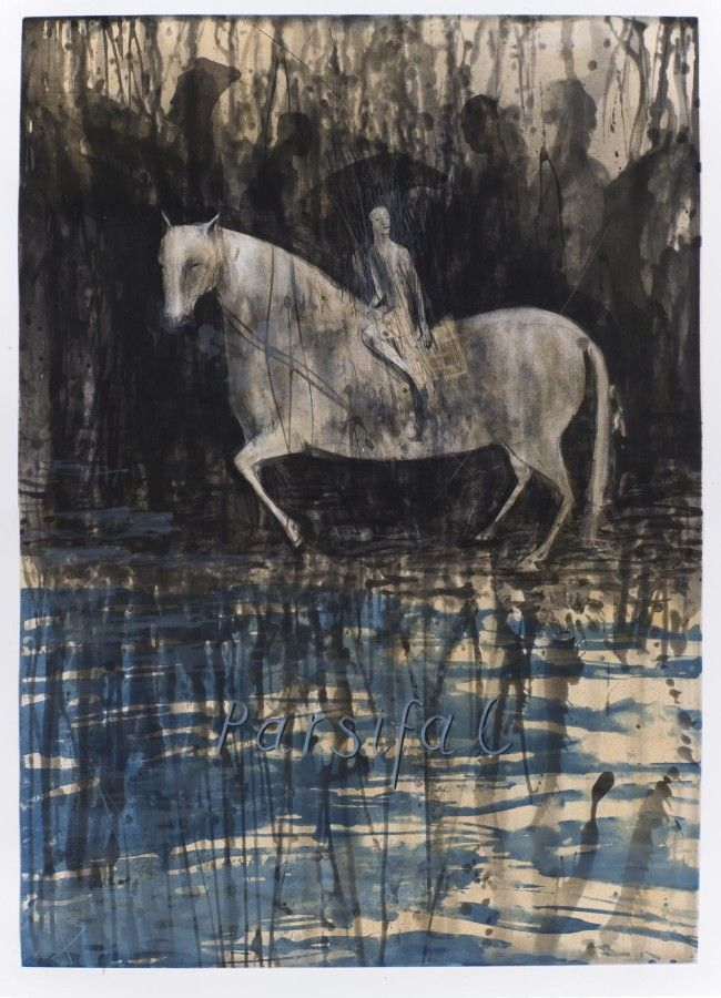 Deborah Bell, Parsifal (2014) Edition of 14 (In production) Sugarlift aquatint spitbite aquatint drypoint and handpainting