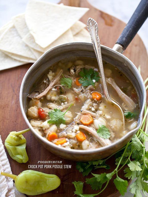 Crockpot Pork Posole Stew by foodiecrush  #Stew #Posole #Crockpot