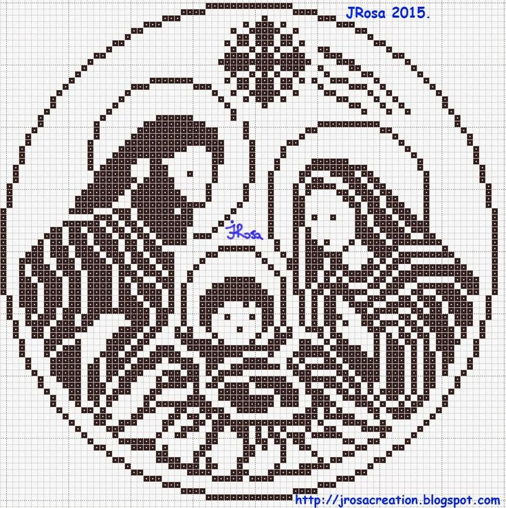 Nativity scene filet crochet pattern , Schema uncinetto a filet : Presepe