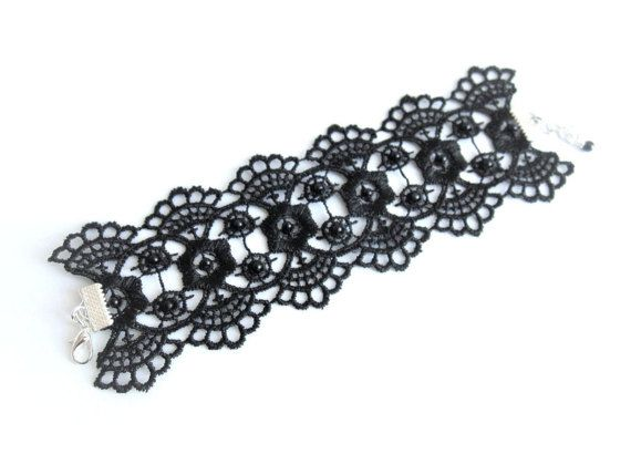 Embroidered black lace bracelet black lace by MalinaCapricciosa