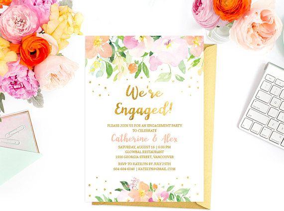 Floral Engagement Invitation Peach Gold Engagement Party