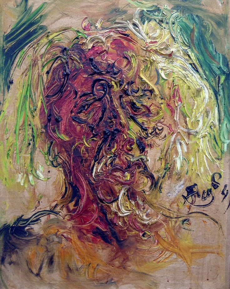 Affandi's self-portrait (1984). Indonesian impressionist.  More on: blakegopnik.com.
