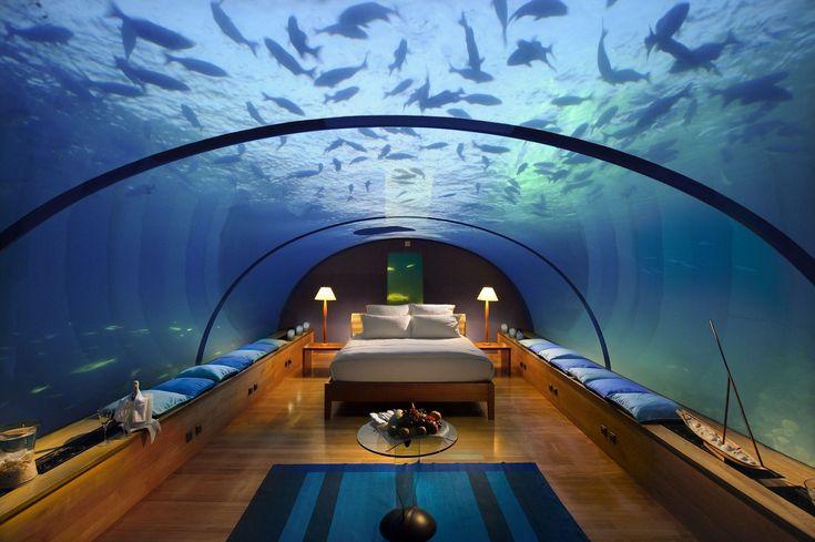 Aquarium Hotel room under water in the Maldives.